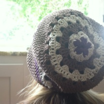 crochet flower top slouch hat